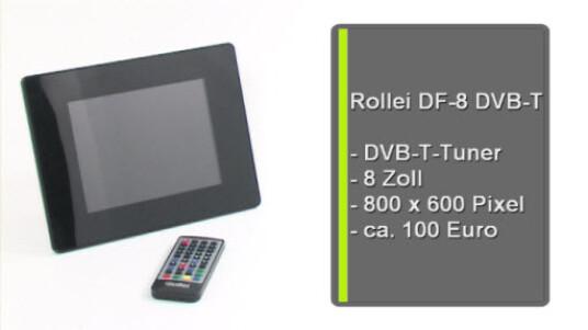Ein digitaler Bilderrahmen als TV-Ersatz? Bestimmt nicht - aber der Rollei DF8 DVB-T eignet sich sehr gut um mal eben die Nachrichten zu schauen. Ansonsonsten gibt er zuverlässig Fotos, Musik und Videos wieder.
