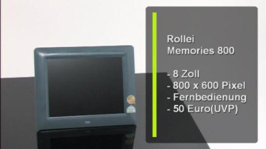 Der Memories 800 von Rollei zeigt Standbilder und Diaschauen an. Der acht Zoll großer Bilderrahmen überzeugt mit guter Bildqualität und unkomplizierter Bedienung.