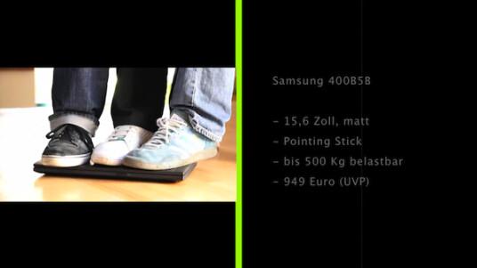 Arbeitsnomade: Das Samsung 400B5B verfügt über ein sehr robustes Gehäuse und geht unterwegs per UMTS online.