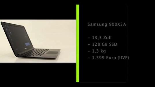 Der Vergleich mit dem Macbook Air drängt sich auf: Das Samsung 900X3A wiegt nur 1,3 Kilogramm und ist geschlossen keine zwei Zentimeter dick. Der Nutzer kann sich über einen matten 13,3 Zoll großen Bildschirm und eine 128 Gigabyte große SSD-Festplatte freuen.