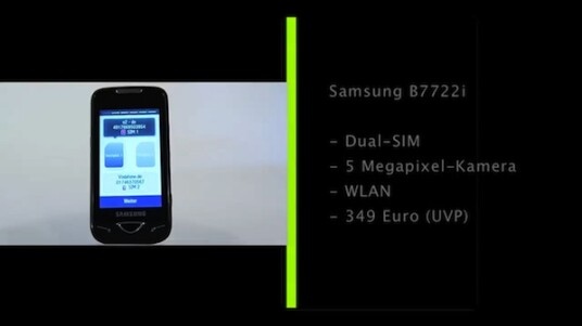 Mit dem B7722i präsentiert Samsung ein Dual-SIM-Handy mit Touchscreen. Das Betriebssystem nutzt dabei die von aktuellen Samsung Smartphones bekannte Touchwiz-Oberfläche.