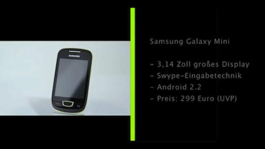 Mit dem Galaxy Mini präsentiert Samsung ein besonders kompaktes Android-Handy, das durch seinen äußerst günstigen Preis beeindruckt.