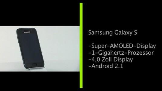 Das Galaxy S ist das aktuelle Android-Flagschiff von Samsung. Der präzise, kapazitive und vier Zoll große Super-AMOLED-Touchscreen zeigt satte Farben und gute Kontraste. Dies kommt vor allem der Video-Wiedergabe zugute, der Paradedisziplin des Galaxy S. Der ein Gigahertz schnelle Prozessor erlaubt Multitasking und die WLAN-N-Unterstützung schnelles Surfen im Web.