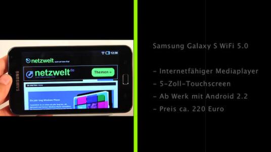 Mit dem Galaxy S WiFi bietet Samsung einen internetfähigen Mediaplayer mit Android an. Die netzwelt-Redaktion hat die 5-Zoll-Variante getestet, alternativ gibt es den Player auch mit einem vier Zoll großen Touchscreen.