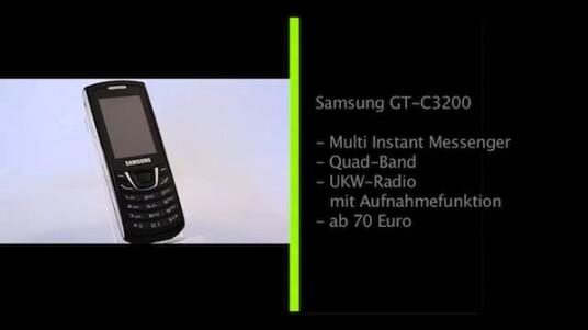 Das Samsung GT C3200, dass im Handel unter dem Namen Monte Bar verkauft wird, ist mit einem Straßenpreis von rund 70 Euro eine Alternative zu günstigen Smartphones, vor allem für Nutzer, die unterwegs lediglich chatten und soziale Netzwerke nutzen wollen.