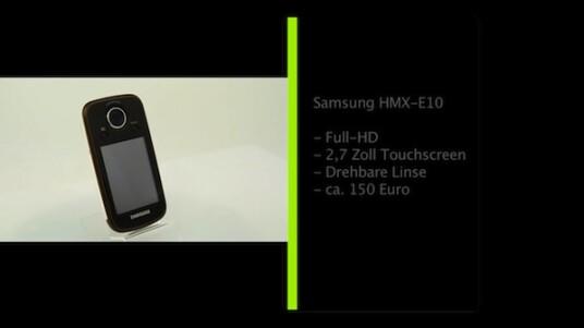 Pocket-Camcorder in Handy-Optik. Die kleine Videokamera HMX-E10 von Samsung nimmt Filme in Full-HD-Auflösung auf. Der Nutzer kann die Linse dabei nach vorne und hinten drehen. Die Bedienung erfolgt über einen 2,7 Zoll großen Touchscreen.