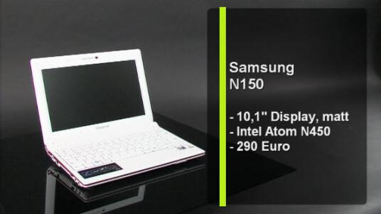 Das Netbook N150 von Samsung basiert auf der Pinetrail-Technologie. Es ist baugleich mit dem Samsung N220, verfügt allerdings über einen schwächeren Akku und eine etwas andere Tastatur. Das Netbook überzeugt im Test durch ein gutes Preis-Leistungs-Verhältnis.
