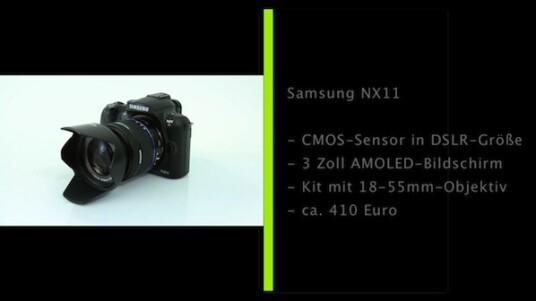 Kleine Systemkamera mit großem Bildsensor in DLSR-Größe. Die Samsung NX11 verfügt zudem über einen beeindruckenden AMOLED-Bildschirm und zeigt sich dank Wechselobjektiven wandelbar.