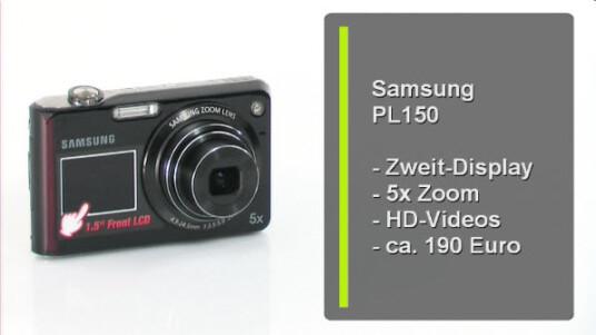 Eine Kamera - zwei Bildschirme: Samsung baut auf der Vorderseite der PL150 einen zusätzlichen Monitor ein. Dieser soll dem Fotografen helfen bei Selbstporträts den richtigen Bildausschnitt zu finden und Kinder dazu bringen in die Kamera zu schauen.