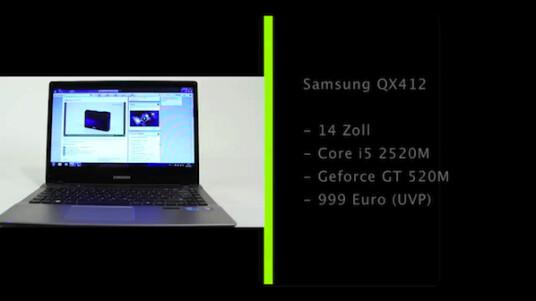 Die Auswahl an Notebooks mit 14 Zoll großen Bildschirmen ist nicht besonders groß. Samsung erweitert das Angebot mit dem QX412 um ein Modell mit leistungsfähiger Hardware und einem Bildschirm, der auch gut als Schminkspiegel dient.