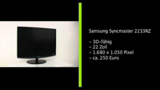 Der Pionier unter den 3D-Monitoren: Der Samsung Syncmaster 2233RZ war der erster Computerbildschirm, der dreidimensionale Bilder anzeigen konnte. Die 22 Zoll große Anzeige überzeugt mit einer guten Bildqualität und lässt sich angenehm bedienen.