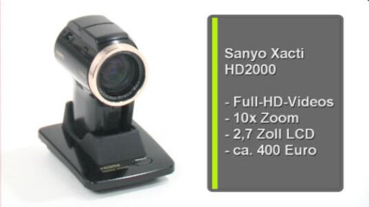 Ein HD Camcorder in ungewöhnlichen Design. Im Test erweist sich die Bauform des Sanyo Xacti HD2000 als äußerst praktisch. Mit seinen sonstigen Werten liegt das Sanyo Gerät in der Mittelklasse.