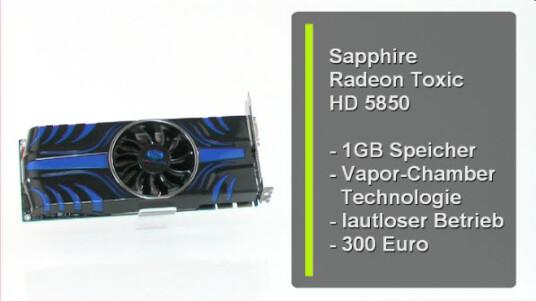 Der Hersteller Sapphire bringt mit der Radeon HD 5850 Toxic eine Grafikkarte auf den Markt, die einen Gigabyte Speicher und einen Chip mit 765 Megahertz aufweist. Außerdem verspricht die Vapor-Chamber-Technologie eine verbesserte Kühlung.