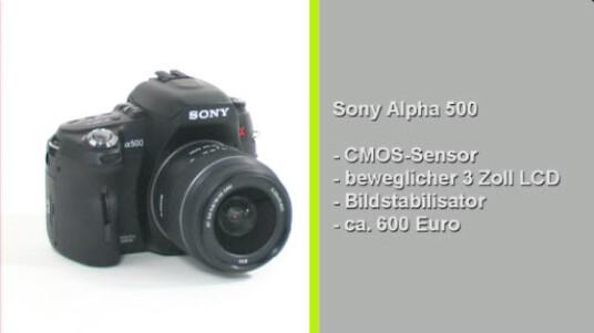 Der CMOS Bildsensor der Alpha 500 liefert eine Auflösung von bis zu 12 Megapixeln. Die Spiegelreflexkamera verfügt über einen beweglichen Monitor und überzeugt im Test mit guter Bildqualität und gelungener Bedienung.