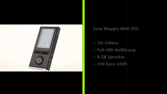 Ein 3D-Camcorder für die Hosentasche: Der Sony Bloggie MHS-FS3 nimmt Videos in Full-HD-Auflösung auf lässt sich problemlos überall hin mitnehmen.