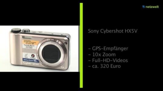 Die Sony Cybershot HX5V verfügt über ein Objektiv mit zehnfachem Zoom, versieht Fotos mit Hilfe eines GPS-Empfängers mit den Geokoordinaten ihres Aufnahmeortes und zeichnet Videos in Full-HD-Auflösung auf.