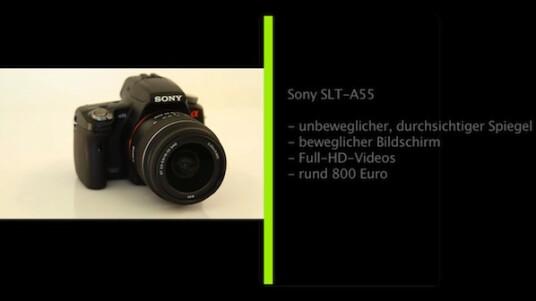 Sony probiert was neues aus: Bei der Spiegelreflexkamera SLT-A55 aus der Alpha-Serie ist der Siegel unbeweglich, aber durchsichtig. Davon verspricht sich der Hersteller kürzere Reaktionszeiten und einen präziseren Autofokus.