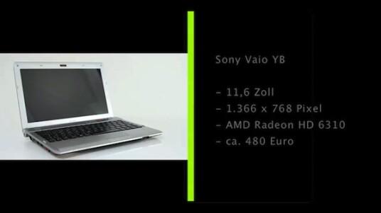 Der 11,6 Zoll große Bildschirm des Sony Vaio YB verfügt über eine Auflösung von 1.366 x 768 Pixeln. Mit seiner Größe und Gewicht schließt das Subnotebook die Lücke zwischen Netbook und Notebook.