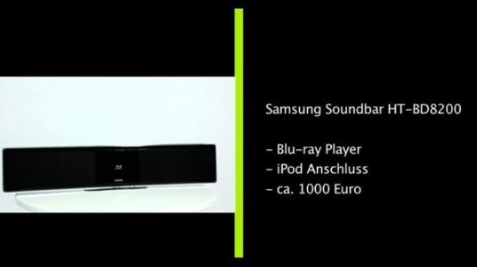 Mit dem Modell HT BD 8200 stellt Samsung eine Soundbar mit integriertem Blu-ray-Player vor. Der zugehörige Subwoofer wird drahtlos angesteuert. Das Beste: Der Straßenpreis des Sets liegt mittlerweile exakt bei der Hälfte der ursprünglichen Preisempfehlung von 1000 Euro.