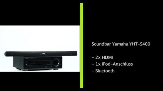 Gerade einmal fünf Zentimeter ist Yamahas Soundbar YHT-S400 hoch. Ungewöhnlich ist auch der Subwoofer, der unter anderem mit einem digitalen Bedienfeld daher kommt. Was das schräge Duo in Sachen Klang draufhat, erfahren Sie im ausführlichen Testbericht.
