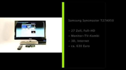 Der Samsung Syncmaster T27A950 vereint PC-Bildschirm und 3D-Fernseher. Der Monitor verfügt nicht nur über ein Design-Gehäuse, sondern gelangt auch eigenständig ins Internet und wandelt 2D-Inhalte in 3D-Bilder um.