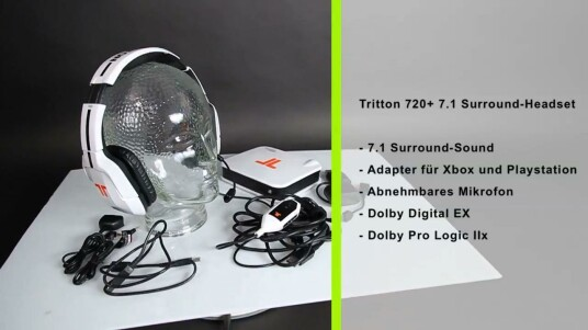 Tritton verspricht dem Träger dieses Headsets dank 7.1-Surround-Sound einen echten Wettbewerbsvorteil. Viele Details am Tritton 720+ für Sonys Playstation 3, Xbox 360, Mac und PC stimmen jedenfalls.