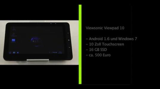 Die Qual der Wahl hat der Nutzer des Viewsonic Viewpad 10: Der Hersteller installiert auf dem Tablet mit zehn Zoll großem Touchscreen sowohl Windows 7 als auch das Smartphone Betriebssystem.