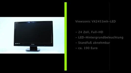 Dieser Bildschirm kann auf seinen Standfuß verzichten. Der VX2453mh-LED von Viewsonic steht auch auf seiner kompletten Unterkante auf dem Tisch und fungiert als 24 Zoll großer digitaler Bilderrahmen mit Full-HD-Auflösung.