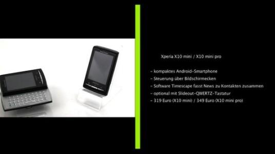 Mit dem X10 mini und dem X10 mini pro bringt Sony Ericsson seine winzige Smartphones auf Android-Basis auf dem Markt. Trotz der geringen Größe bieten die beiden Geräte die üblichen Funktionen moderner Multimedia-Handys. Das X10 mini pro soll mit seiner ausfahrbaren QWERTZ-Tastatur zudem den Ansprüchen von Vielschreibern genügen.