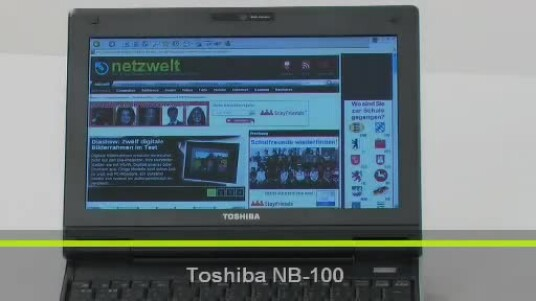 Mit 1050 Gramm eignet sich der Toshiba NB-100 besonders für Anwender die häufig unterwegs sind. Bauartbedingt liegen die Leistungswerte im Mittelfeld und auch die Bedienung stellt sich als unkomfortabel heraus.