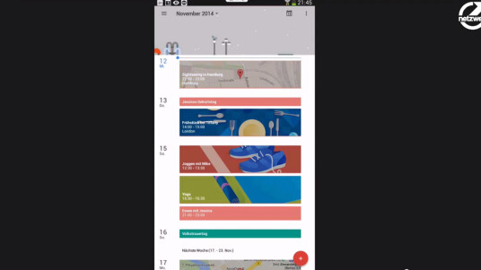 Google hat eine neue Kalender-App mit der Versionsummer 5.0 angekündigt. Netzwelt hat die App ausprobiert. In diesem Video zeigen wir die wichtigsten Neuerungen. Zur ausführlichen Meldung gelangst du über diesen Link.