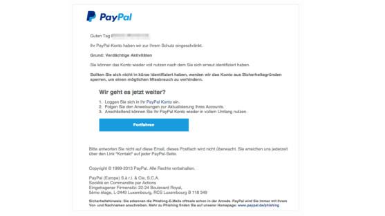 paypal e mail f lschungen leiten auf phishing webseiten netzwelt. Black Bedroom Furniture Sets. Home Design Ideas
