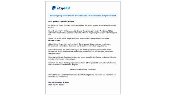 paypal kontosperrung