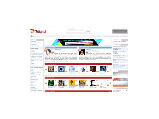 Startseite des 7digital-Musikportals