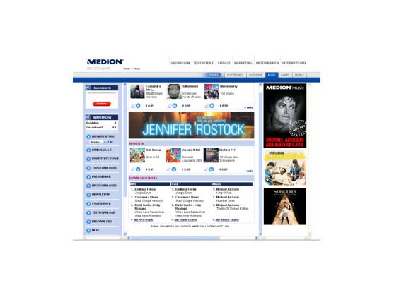 Startseite zum Medion Musikportal