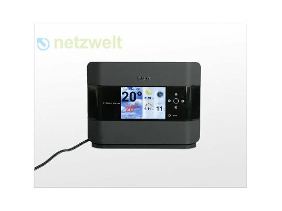 Über einen Internet-Service holt der Router auch aktuelle Wettervorhersagen aufs Display.