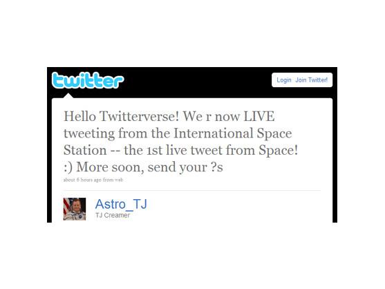 Twitter: Der erste Tweet aus dem Weltall