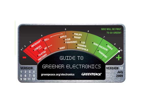 "Greenpeace-Ranking zu ""grüner Elektronik"", Ausgabe 12 vom Juli 2009."