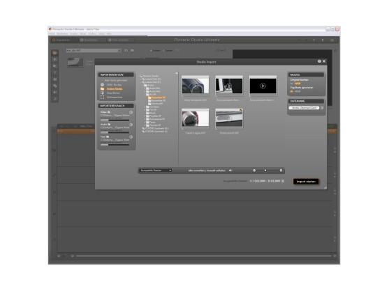 """Filme importieren: Die """"Studio Import""""-Funktion hilft dabei, das richtige Medium zu finden, und erkennt automatisch externe Geräte."""