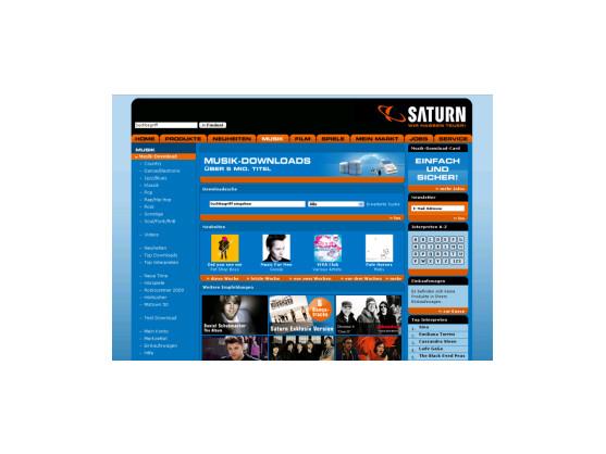 Startseite zum Saturn Musikportal