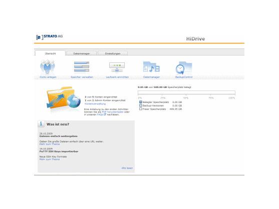 Nach der Anmeldung gelangt der Nutzer in die übersichtliche Menüoberfläche von Strato HiDrive. Bild: Screenshot