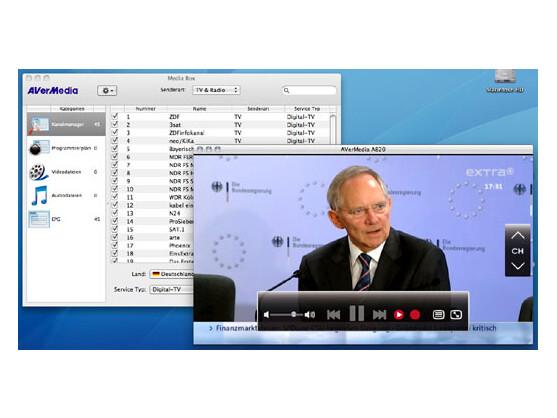 Die AverTV-Software auf dem Mac - Fernsehbild und Menü..