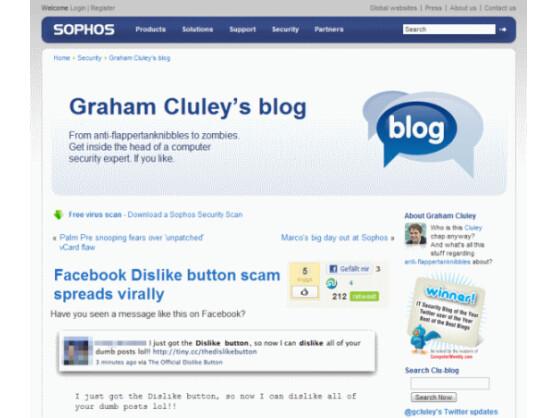 """In einem Blog-Eintrag warnt Sophos vor der Installation des """"Dislike""""-Buttons. Bild: Screenshot"""