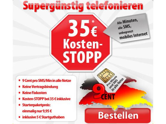 DeutschlandSIM: Hier greift der Kosten-Stopp schon bei 35 Euro.