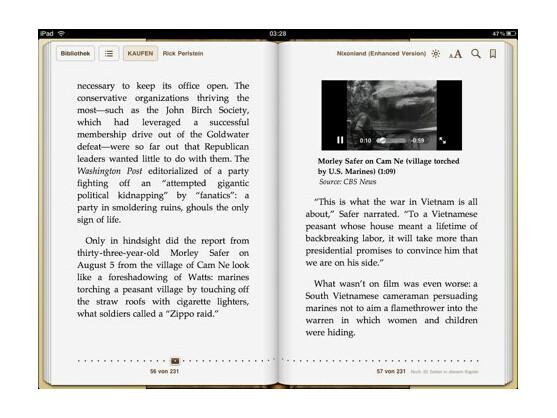 """In der """"Enhanced Version"""" einiger E-Books aus dem Apple iBookstore können nun auch Video- und Audioinhalte dargestellt werden."""