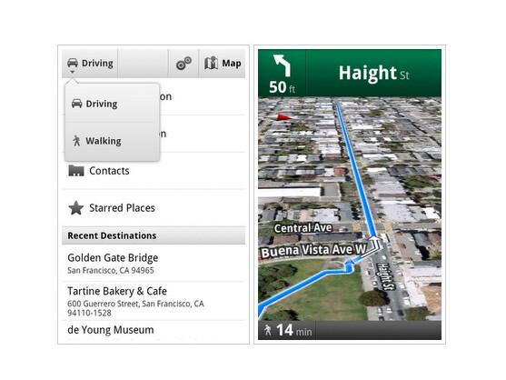 Google Maps 4.5 für Android-OS bietet verbesserte Fußgängernavigation