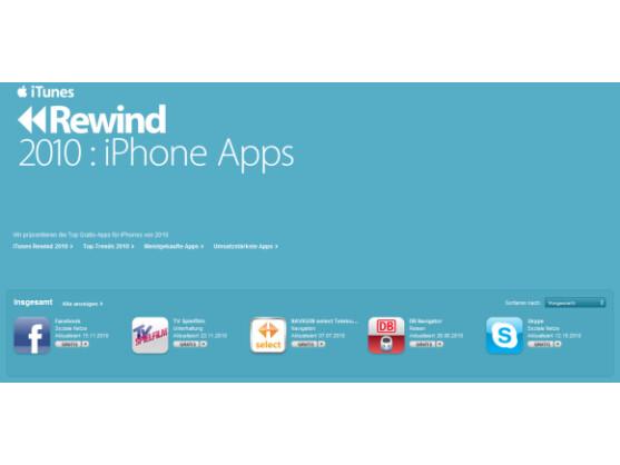iTunes Rewind 2010: Apple stellt die beliebtesten iPhone-Apps vor.