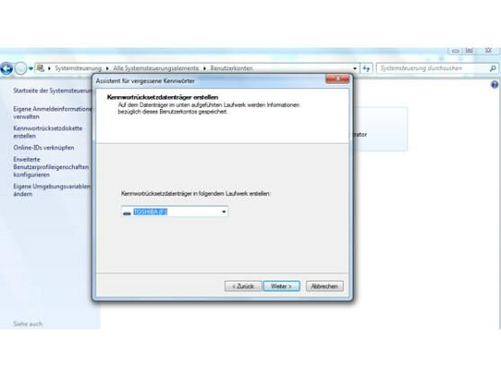 Mithilfe der Kennwortrücksetzdiskette können Nutzer dem Ernstfall vorbeugen.