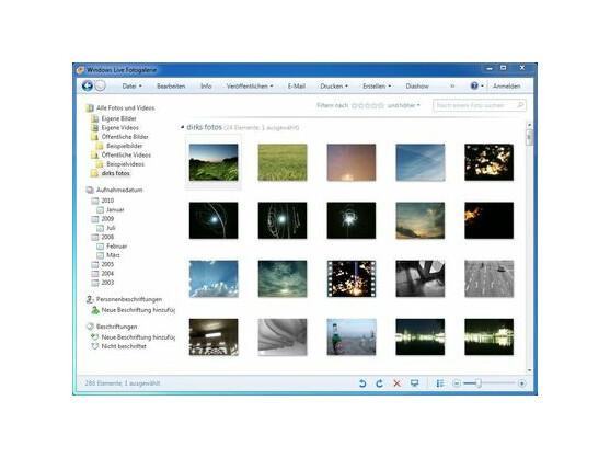 Die Programmoberfläche von Windows Live Fotogalerie.
