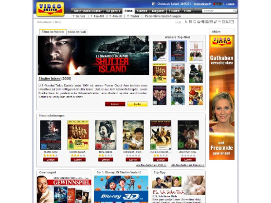 Online-Videothek mit Video on Demand-Option: Videobuster